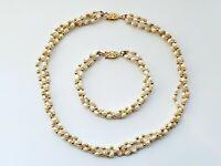 Vintage Freshwater Rice Pearl Set Necklace & Bracelet