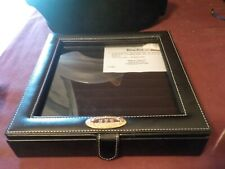 NWOT BLACK LEATHER JEWELRY RING BOX MONAGRAM MHB