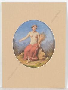 """Carl Joseph Geiger (1822-1905) """"Flora"""", Gouache, 1850"""