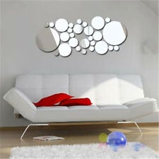 DIY Circle Wall Stickers Silver Mirror Home Bedroom Decoration Cute 30 pcs/set