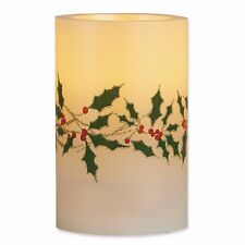 Set of 4 Unscented Poinsettia Holly Flameless LED Candles Christmas Home Decor