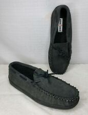 Minnetonka Men's Leather Lace Closure Slippers Charcoal Size 11