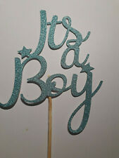 It's a Boy Cake Topper BLUE Glitter Card Baby Shower Gender Reveal Cake Decor