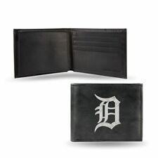 Detroit Tigers MLB Embroidered Team Logo Black Leather Bi-fold Wallet