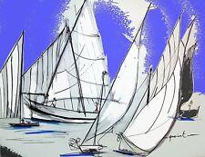 Tableau, peinture, contemporain, Escale à Sète,voilier, voile latine