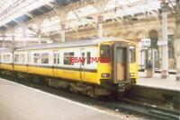 PHOTO  1994 PRESTON RAILWAY STATION EMU IN RAILWAY STATION CHANGE HERE FOR CREWE