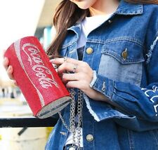 Sac à main minaudière pochette canette de soda métal strass rouges original