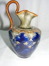 Vintage Art Pottery Royal Doulton England 6.5 Majolica Pitcher Cobalt Blue