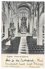Luzern, Inneres der Hofkirche PPC, Unterlaken Switzerland 1907 to Gloucester