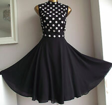MONSOON BLACK EMBELLISHED IVORY SILVER SEQUIN BEADED 50's PROM OCCASION DRESS 18