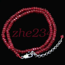 2x4mm Brazil Red Ruby Faceted Roundel Gems Beads Necklace Silver Clasp AA