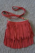 NEW JJ Winters BOHO Fringe Suede Vanessa Mini Crossbody Shoulder Bag Coral UNIQ