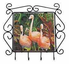 Pink Flamingo Print Wrought Iron Key Holder Hooks Christmas Gift, AB-74KH