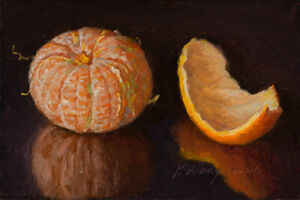 small original oil painting a day realism still life mandarin orange 6x4 Y Wang