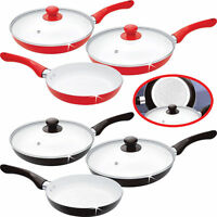 New Ceramic Coated 5pc Frying Pan Set & 2 Glass Lids Non Stick Aluminium Cooking