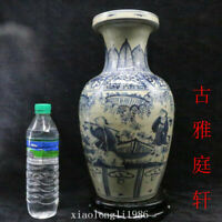 old China antique Late Qing Dynasty Blue and white Character story pattern vase