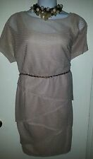 I.N STUDIO 22W - TAUPE DRESS WITH SHEER LAYERS AND GOLD/BLACK BELT