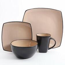 Square Dinnerware Dinner Plates Bowls Cups Kitchen Stoneware Dishes Set 16 Piece