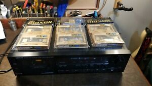 DENON DR-M30HX Stereo Cassette Deck 3 Head 1986 Working w 7 New Maxell Tapes