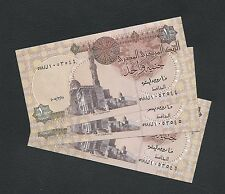 Egypt Banknote 3 x 1 Pound. Uncirculated. Set of 3 banknotes.