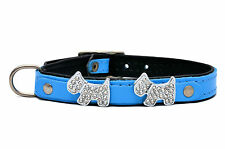 DOG PUPPY COLLAR LEATHER Cristal Doggie Bling red pink blue black