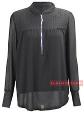 CHIFFON QUILTED ZIP FRONT TOP L67