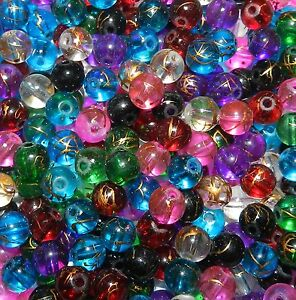 GL3254 Assorted Color Mix 8mm Round Gold Drizzle Drawbench Glass Beads 100pc