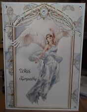 Handmade Fantasy Sympathy Card with a Angel in blue with a butterfly arch design