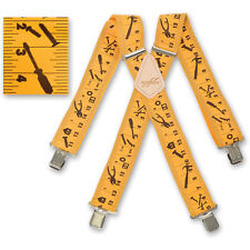 "Brimarc Mens Braces Heavy Duty Suspenders 2"" 50mm Wide Yellow Tape Braces"