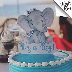CUTE BABY ELEPHANT BABY SHOWER STAND-UP CAKE TOPPER