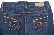 """Seven 7 Jeans Gold Pocket Stitch Design Premium Denim Flare Sz 29 Dark Wash 24"""""""