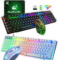 Wireless/Wired Gaming Keyboard Mouse Combo For PC PS4 LED Backlit Rechargeable