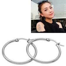 Women Ladies Stainless Steel Tube Dangle Ring Hoop Ear Circle Round Earrings