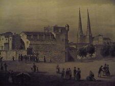 Gravure ancienne, vers 1840 : place du fort de Ha à Bordeaux