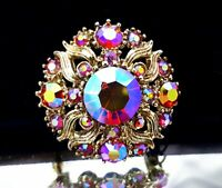 Vintage red Aurora Borealis rhinestone domed brooch
