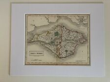 Antique Engraved Map Isle of Wight Sidney Hall Travelling Atlas Mounted Railways