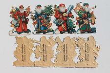 18748 4 Oblaten Hacopo Schokolade Sammel Glanz Bilder Weihnachtsmänner um 1900