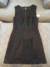 Milly Nina Sleeveless Floral-Embroidered Lace Dress, Black sz 6