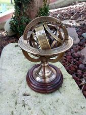 Sphère armillaire en laiton sur socle bois neuve hauteur 13cm