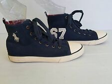 Polo Ralph Lauren Boys Navy Blue Big Pony High Top Rugby Sneakers Shoes Sz 5.5