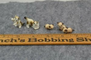 kittens cats 1.25 in miniature lot 5  china bisque doll house antique
