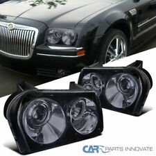 For Glossy Black Chrysler 05-10 300 Tinted Projector Headlights Headlamps Pair
