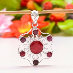 """EXCITING RED RUBY HANDMADE .925 SILVER PENDANT 2.09"""""""