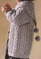 Aran Style Baby Children Coat Pom Pom Collar 2-3 years DK Knitting Pattern