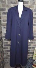 Talbots Petites Women's Trench Coat Navy Blue winter Jacket 100% wool Size 2 NWT