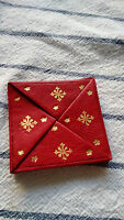 Gold Foil red leather Coin purse pouch wallet case holder