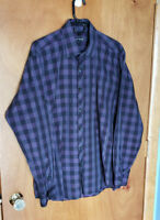 Jared Lang Plaid Purple and Black Button-Up Dress Shirt Men's Size Large L