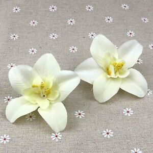 """15P 3"""" Artificial Silk Fake Orchid Flowers Bulk Floral White Craft Home Decor"""