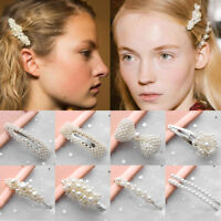 Women Pearl Hair Clip Snap Barrette Stick Hairpin Hair Accessories Gifts New