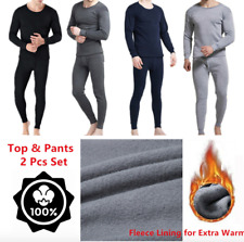 Mens Winter Fleece Lined  Cotton Thermal Long Johns Top and Bottom Underwear Set